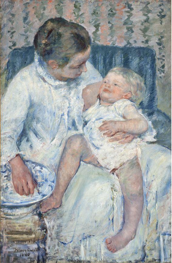 미국 미술300년 출품작, 메리 카사트, 조는 아이를 씻기는 어머니