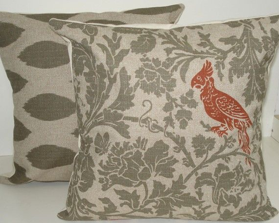 TWO New 18x18 inch Designer Handmade Pillow Cases in green grey floral, ikat, and burnt orange bird.