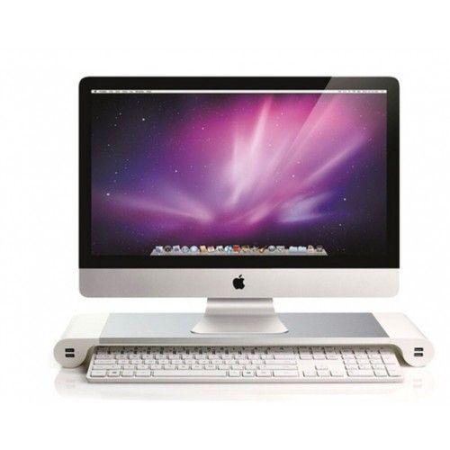 Support de Moniteur d'Ordinateur de Table Organisateur de Bureau avec 4 Ports USB pour Laptop / iMac