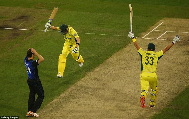 Steve Smith and Shane Watson celebrate the moment the winning run was scored in the World Cup Final