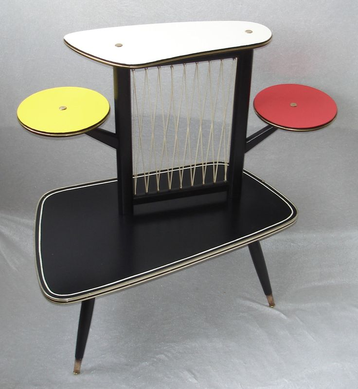50s 60s large coffee table plant table 4 levels 4 colors rockabilly era mid century modern germany