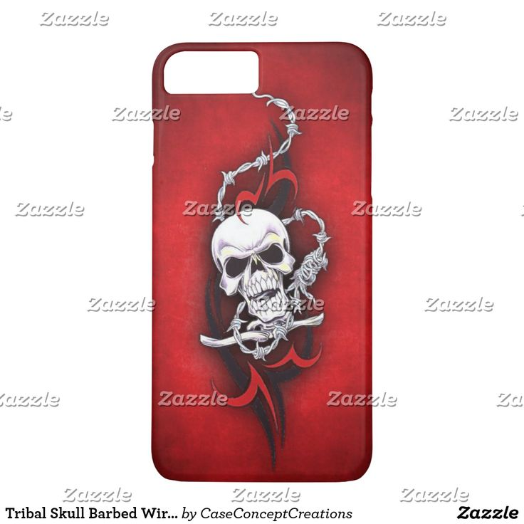 Tribal Skull Barbed Wire Red Grunge Tattoo iPhone 7 Plus Case