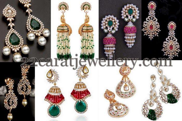 Jewellery Designs: Latest Diamond Earrings Sets with Tassels