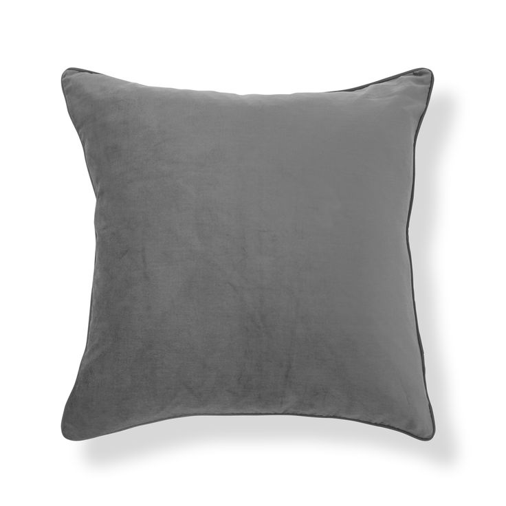 Nigella Pale Charcoal Square Velvet Cushion at Laura Ashley
