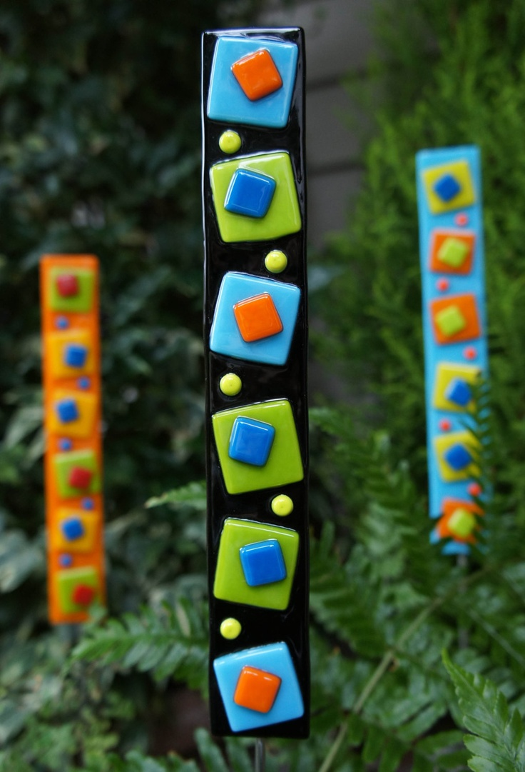 Fused glass yard art - Garden Art Outdoor Home Decor Black Blue Green Orange Fused Glass