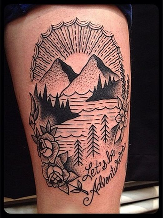 love this simple mountain scenery tattoo