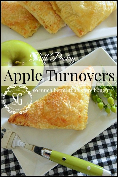 PUFF PASTRY APPLE TURNOVERS  These delicious turnovers are ridiculously easy to make! Can be made ahead and popped into the freezer and then baked! stonegableblog.com