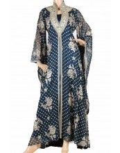 """Teal Night Rose kaftan"" Velvet chiffon abaya with embroidery (WN-782)"