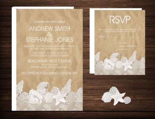 Wedding Invitations Beach Desitnation Beach & Lace 50 Invitations & RSVP Cards - http://home-garden.goshoppins.com/wedding-supplies/wedding-invitations-beach-desitnation-beach-lace-50-invitations-rsvp-cards/