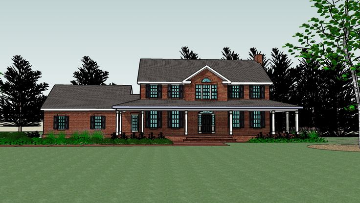 Brick house with wrap around porch but way smaller my Brick home plans with wrap around porch