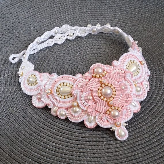 Statement soutache necklace Bridal necklace Statement by ByMonnica