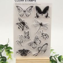 1 sheet DIY Butterfly and Bee Transparent Clear Rubber Stamp Seal Paper Craft…
