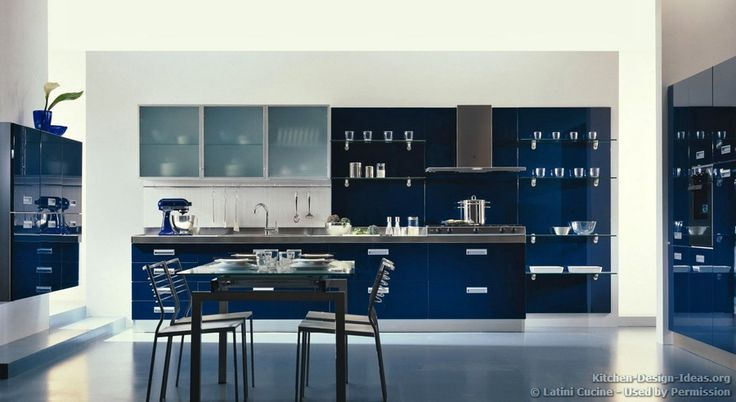 Kitchen idea of the day a modern luxury kitchen with navy blue cabinets and open glass shelves - Italian kitchen cabinets manufacturers ...