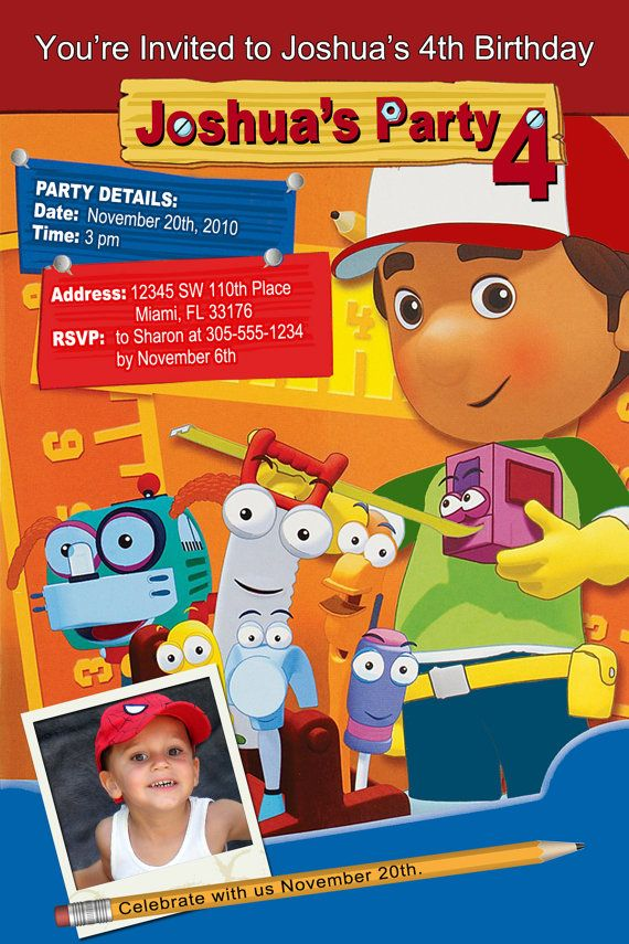 17 Best images about Handy Manny Party – Handy Manny Party Invitations