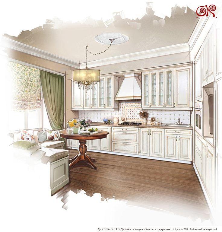 Дизайн белой кухни в винтажном стиле