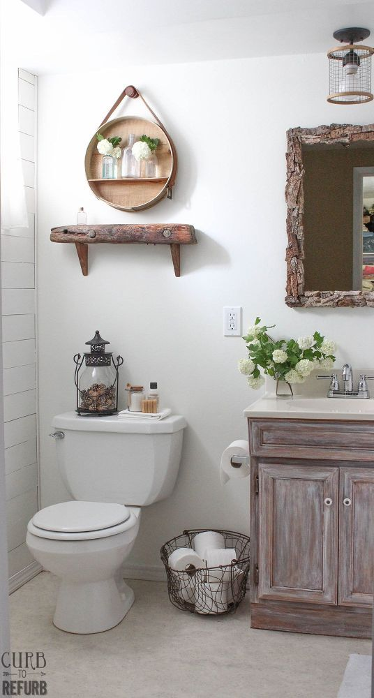 This Tiny Bathroom Was in Desperate Need of Some TLC - $109 up do w/ship lap wall n accessories