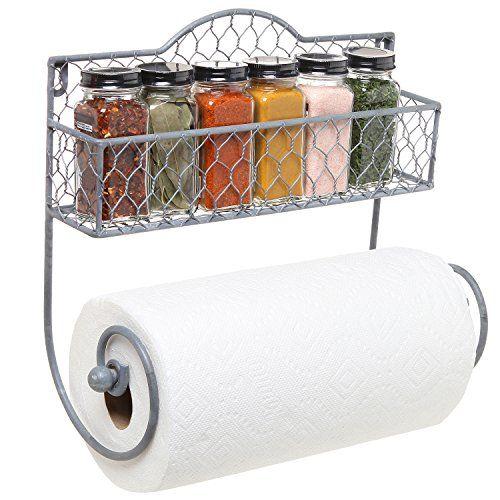 Wall Mounted Rustic Gray Metal Kitchen Spice Rack & Paper Towel Holder / Bathroom Basket & Towel Bar