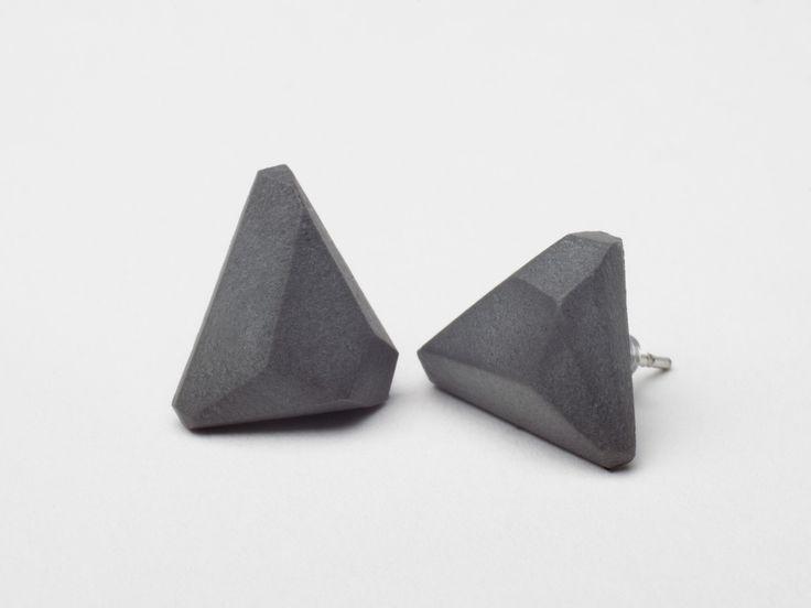 AB concrete design - GEM / antrachite Earrings, concrete, design, gray, stone, meteor, triangle, polygon, rock, minimal, elegant