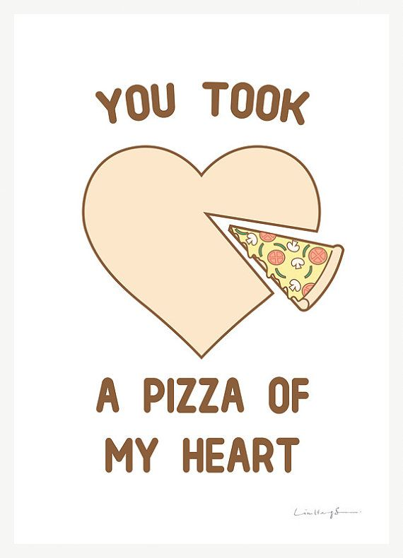 You took a pizza of my heart art print of illustration by Lim Heng Swee aka ilovedoodle Print measures about 21cm x 29.7cm (A4) including a white