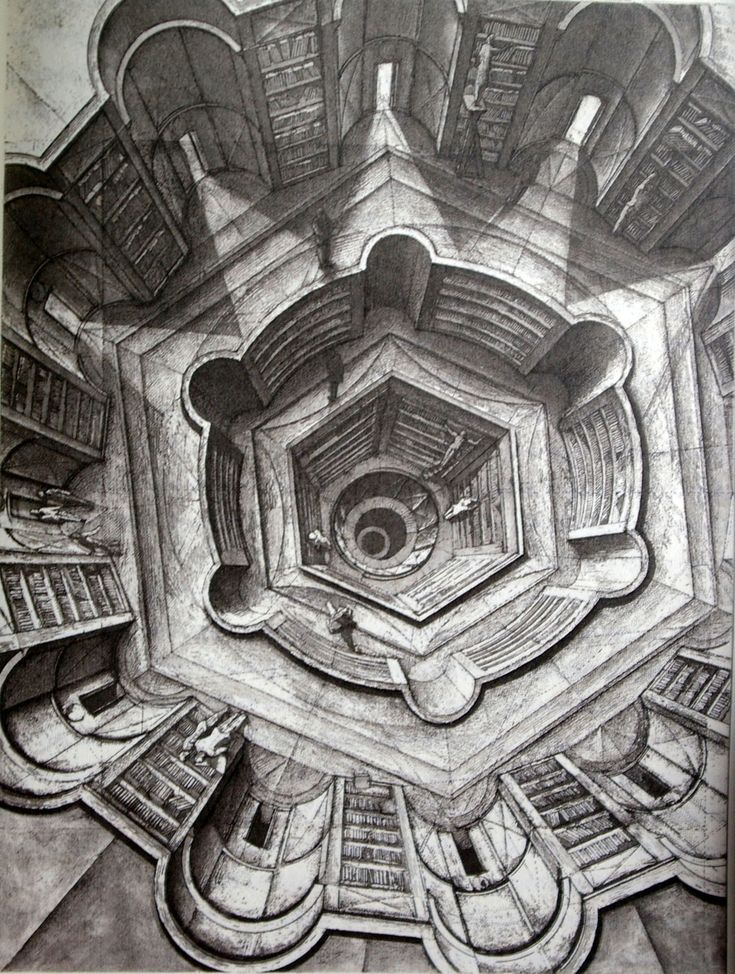 Etchings for Jorge Luis Borges Library of Babel