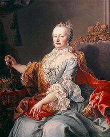 Maria Theresa (1717 - 1780). Empress of Austria from 1745 until her husband's death in 1765, although she used the title and continued to rule until her death in 1780. She was also Queen of Hungary, Croatia, and Bohemia from 1740 until her death.
