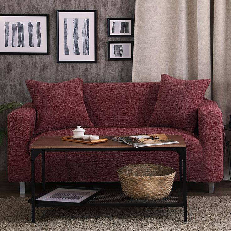 35 56USD Red Wine Stretch Furniture Covers Knitted Fabric Corner Sofa Cover For Living Room