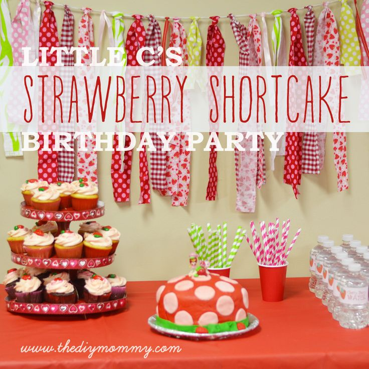 Little C's Strawberry Shortcake Birthday Party (+ Free Water Bottle & Treat Bag Printables) | The DIY Mommy