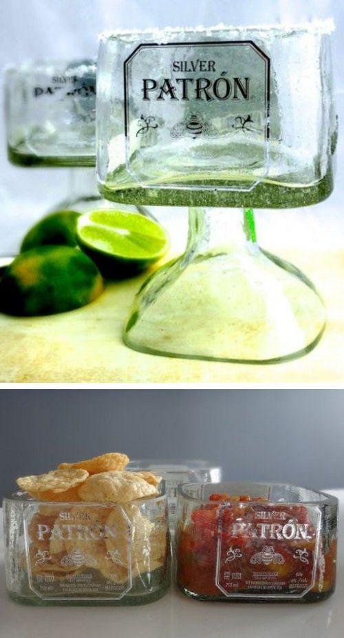 Patron Tequila Bottle DIY Ideas // Margarita Drinking Glass & Snack Bowls #recycle #diy