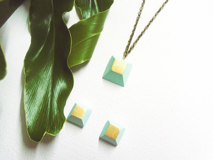 Necklace, handmade in cold ceramic, color water green + golden, by Musua. by Musua on Etsy