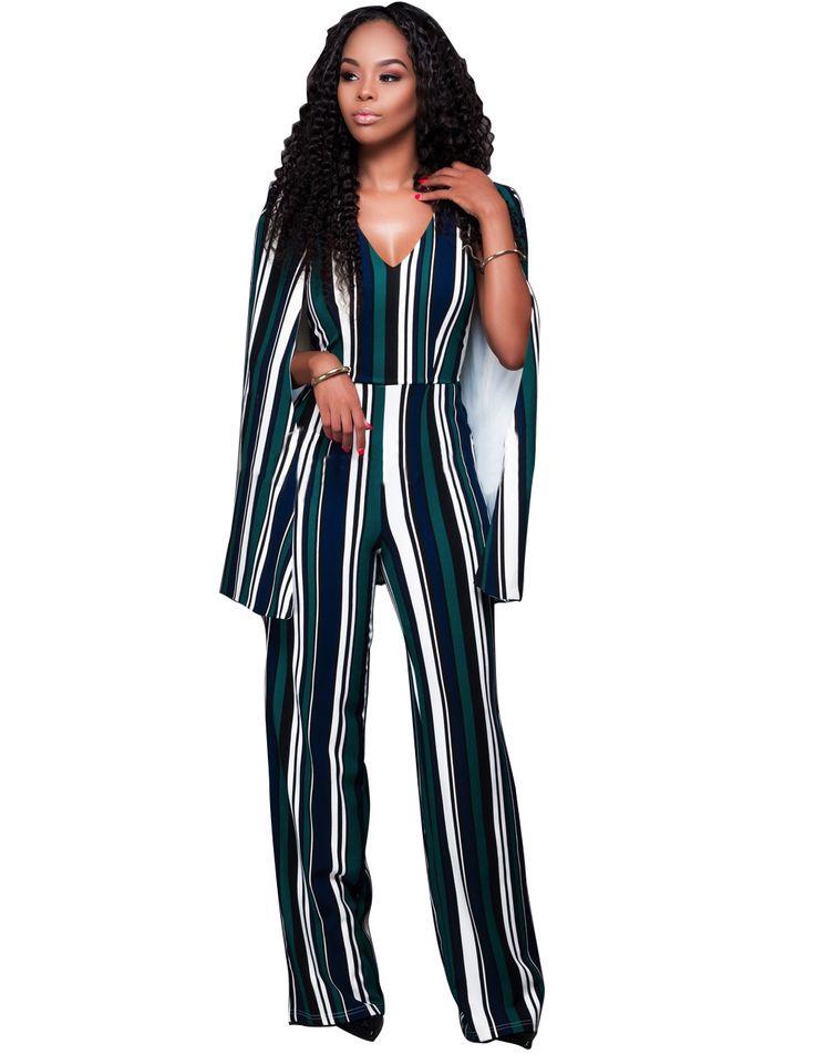 Women Cap Cloak Sleeve Long Jumpsuit Sexy Striped Patchwork Deep V Neck Open Back Wide Leg Playsuits Plus Size Overalls