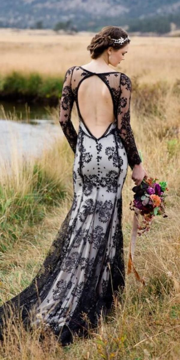 long sleeve black and white lace wedding dress