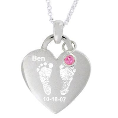 Simulated Birthstone Baby Footprints Heart Pendant in Sterling Silver (1 Name, Date and Stone)