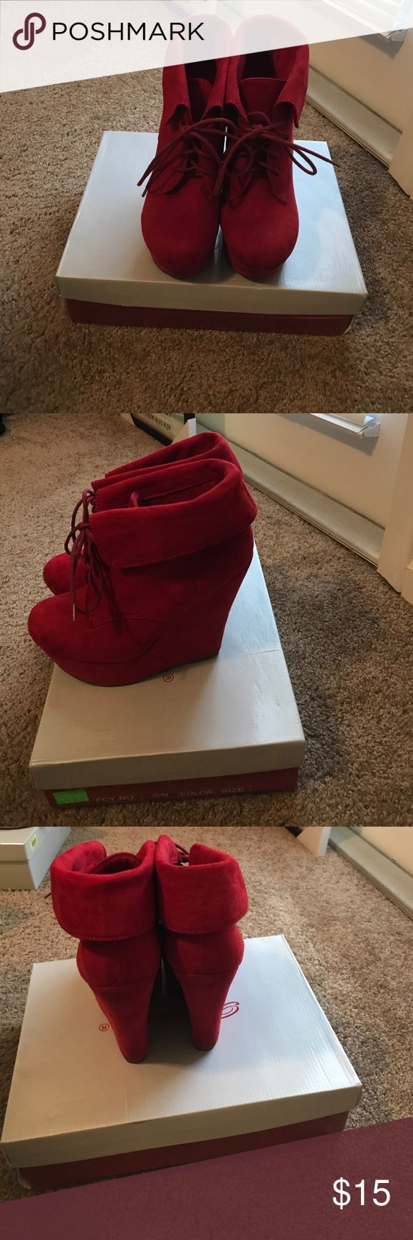 Red wedges. Size 8 1/2. Worn twice Red wedges Shoes Wedges