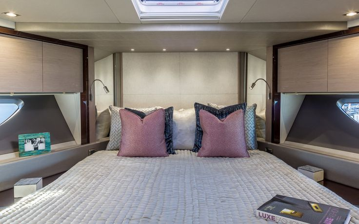We dressed the second bedroom of the 76 Sunseeker Yacht with a luxurious throw by @designersguild in a calming pebble shade, adding another touch of sophistication to the bedroom design.