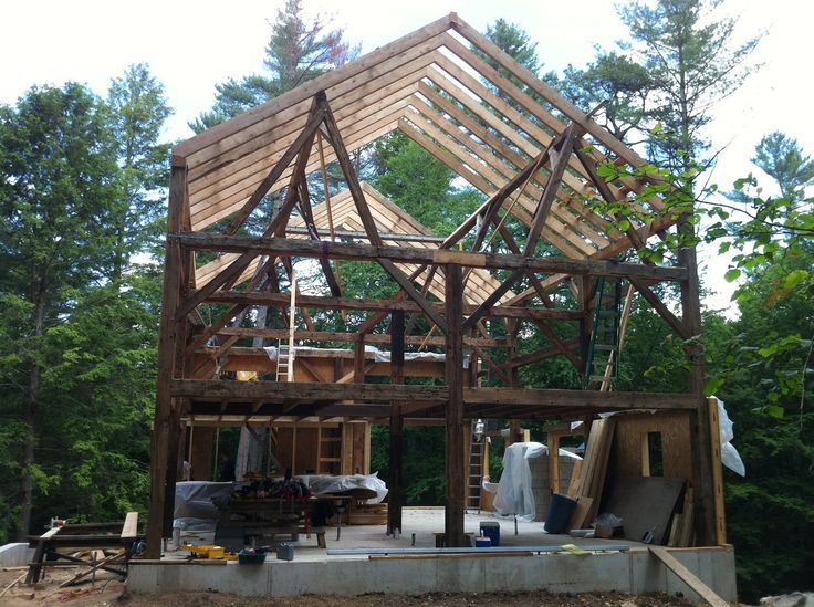 Rafters installed on barn.: Beaverbrook Com, Cabin Fever
