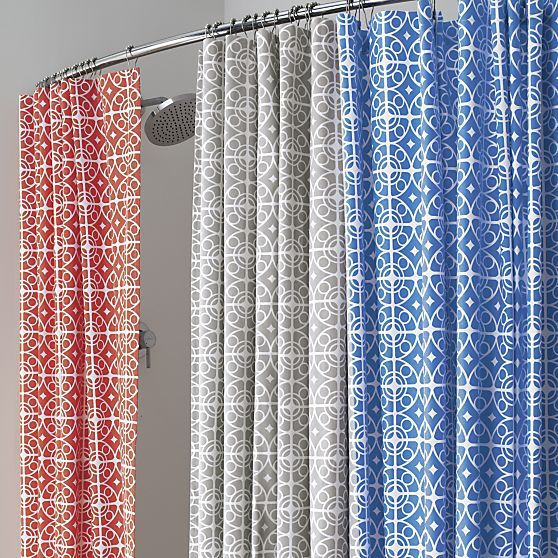 White Medallions Trellis On Coral In A Moroccan Inspired Pattern Printed Sturdy Cotton Shower CurtainsShower