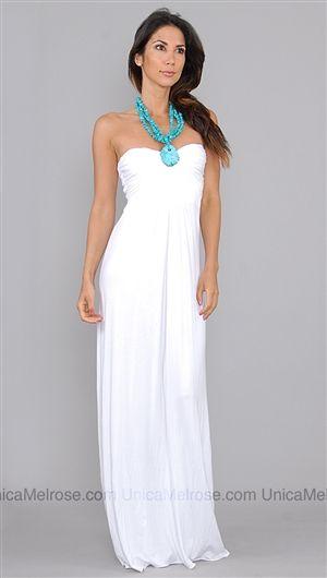 Sky White Hardilla Long Dress with Turquoise Necklace