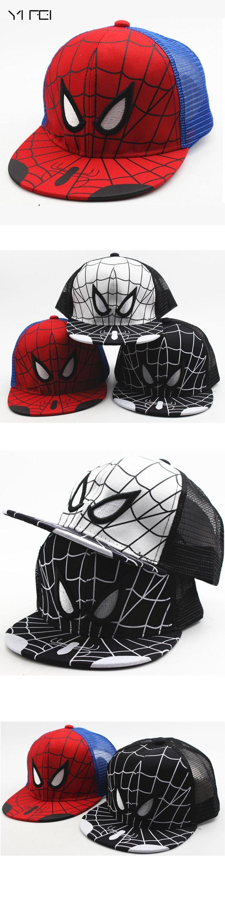 YIFEI Cartoon Kids Baseball Cap Fashion Spider-man Boys Snapback Caps Cosplay Hip Hop Baseball Cap Children Summer Hats Sun Hat