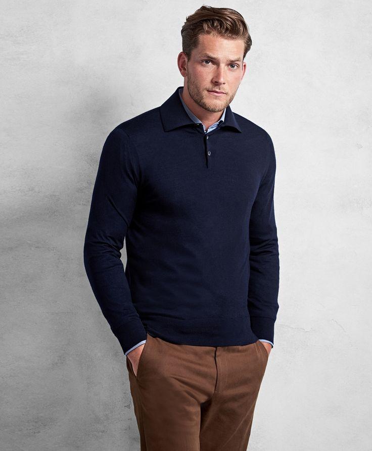 Polo à manche longue avec trico raffiné