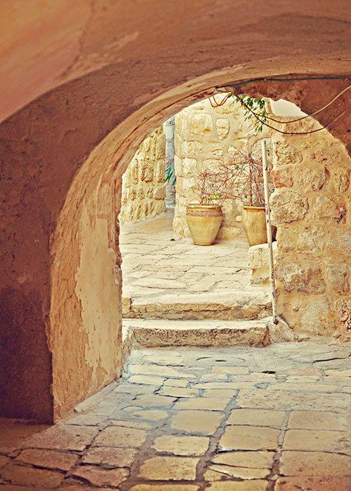 Jerusalem Courtyard  Old City  Israel Travel by aroundtheisland, $15.00