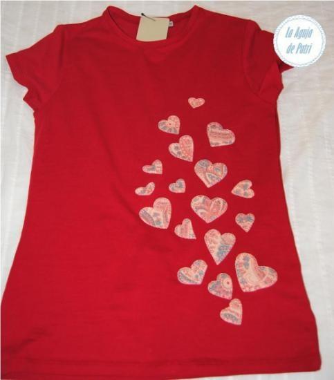camiseta corazones  telas e hilos artesanal