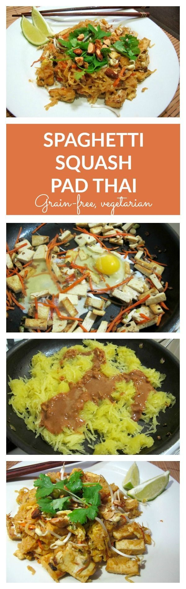 Grain-Free, Vegetarian Spaghetti Squash Pad Thai - a low-carbohydrate, vegetable and protein packed dish. Healthy and delicious!! Can be made gluten free by substituting soy sauce for tamari or aminos.