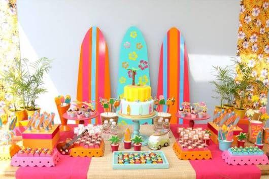 festa surf rosa menina