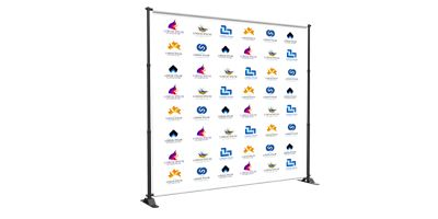 Step and Repeat are printed in full color on one side of 15 oz. matte vinyl block out material which eliminates all obstructing glare, allowing for ultimate promotion and immaculate photography. They are built to stand up to the elements, though they do wear with time. We offer a variety of finishing options, including hemming, grommets, and pole pockets.