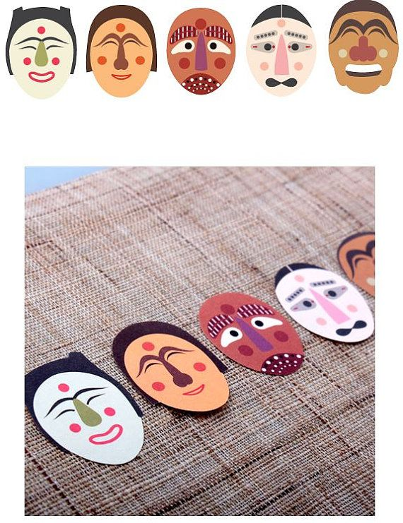 Korea Traditional Mask Gift Decoration Sticker (4 sheets)