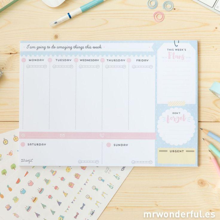 Planificador semanal para que la semana vaya genial #planner #weekly #stationery…