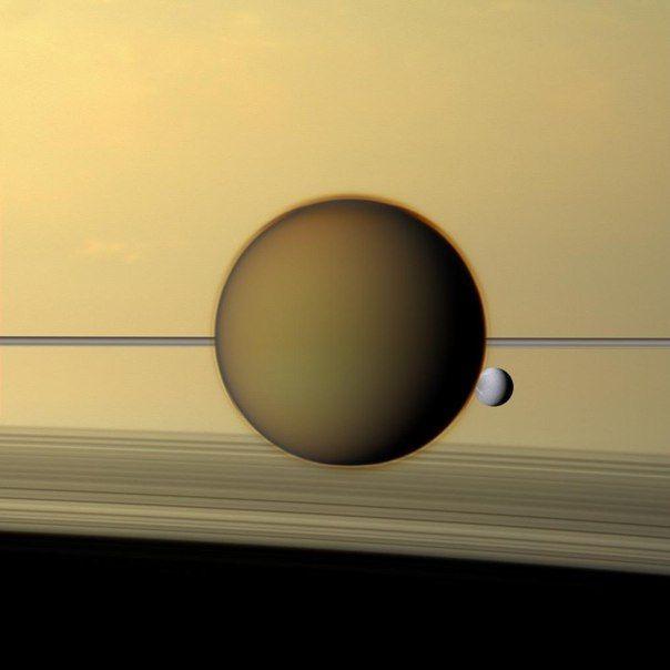 Титан и Диона на фоне Сатурна. / Astro Analytics