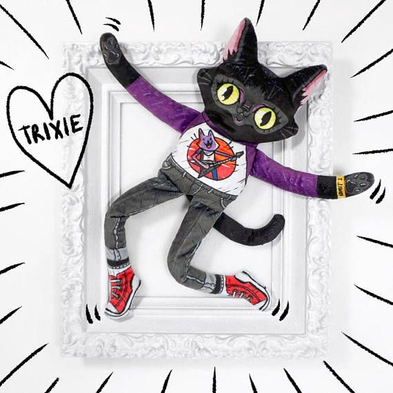 Trixie the Wildcat goes to a Rock Show  Soft minky cat plush