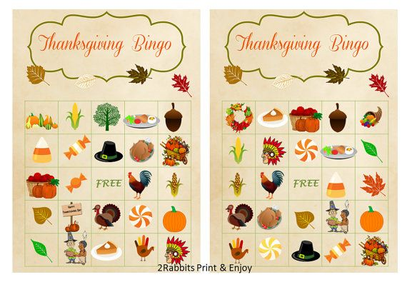 20 Thanksgiving  Bingo Printable Cards prefilled with Thanksgiving cliparts plus bonus Free of  charge blank Thanksgiving bingo cards by 2RabbitsPrintEnjoy #thanksgiving2015 #thanksgivingbingocards