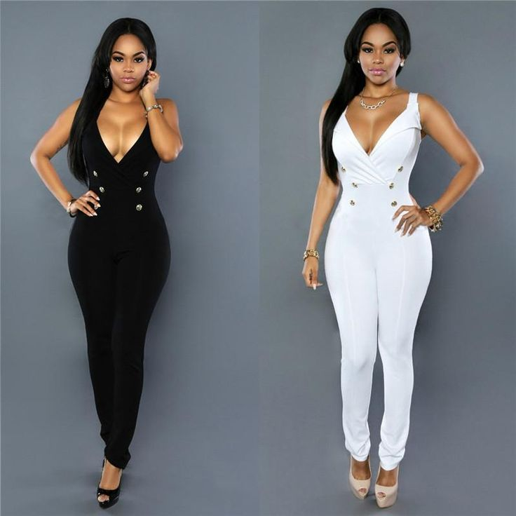 2016 Bodycon Jumpsuits For Women Sexy Nightclub V Neck Buttons Fashion Work Jumpsuits Wholesale 2165 From Notwo, $11.64 | Dhgate.Com